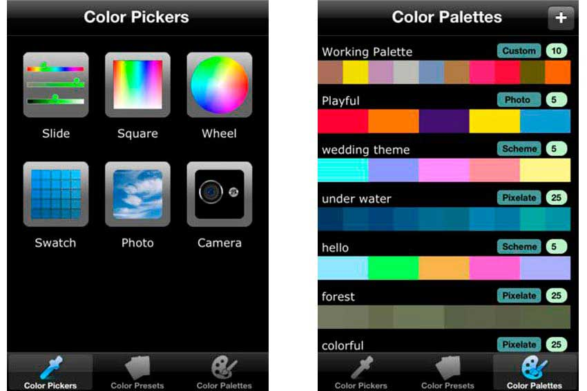 Interfaz de la app Color Picker.