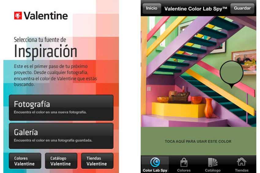 Interfaz de la app Spy-Valentine.