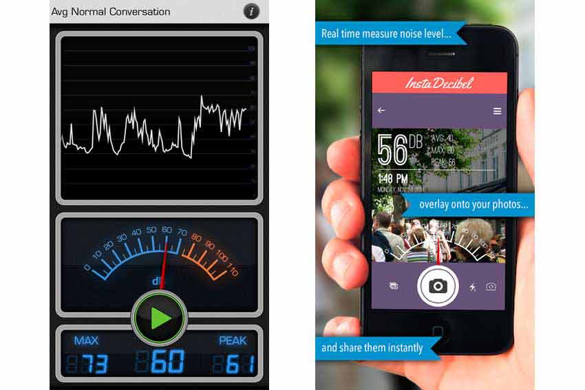 Interfaz de la aplicación para móvil Decibel 10th.