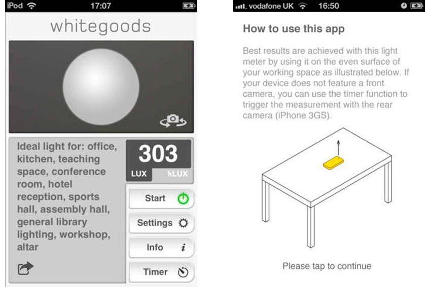 Interfaz de la app LightMeter.