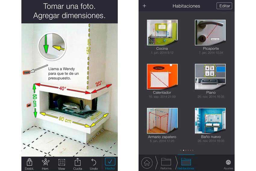 Interfaz de la app My measures. Muy útil para profesionales de la construcción.