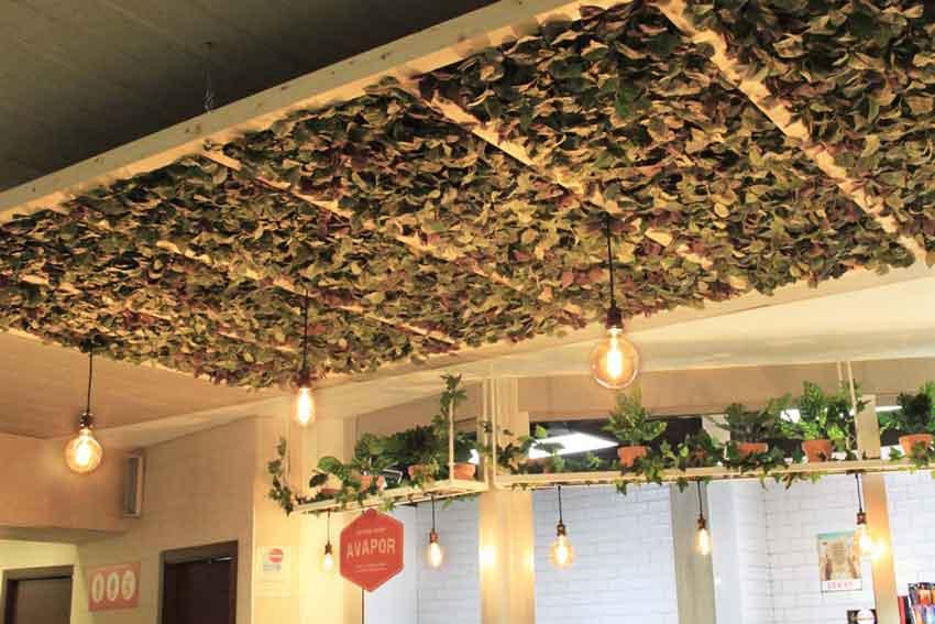 """Detalle de la estructura del techo de la cafetería """"Avapor""""."""