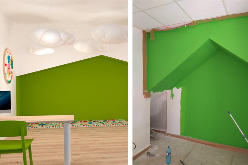 Ejemplo de error en la cómo han sido pintadas las paredes de una obra en una reforma.