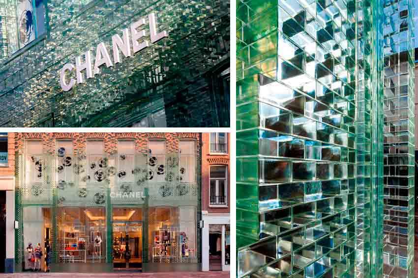 Utilización de materiales exclusivos en la fachada de la tienda de Chanel en Amsterdam. Se trata de una fachada de diseño exclusivo elaborada con ladrillos de vidrio.