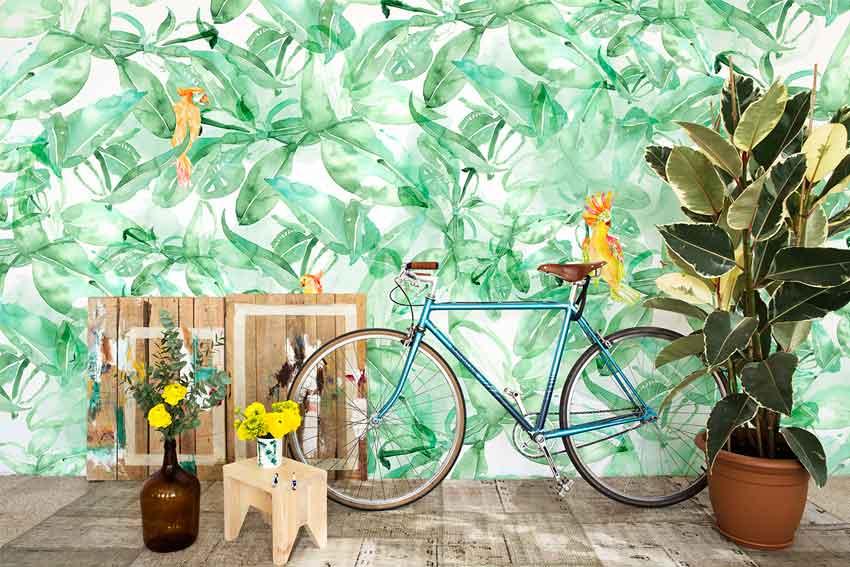 Modelo Find Parrots de papel pintado de la marca barcelonesa Coordoné.