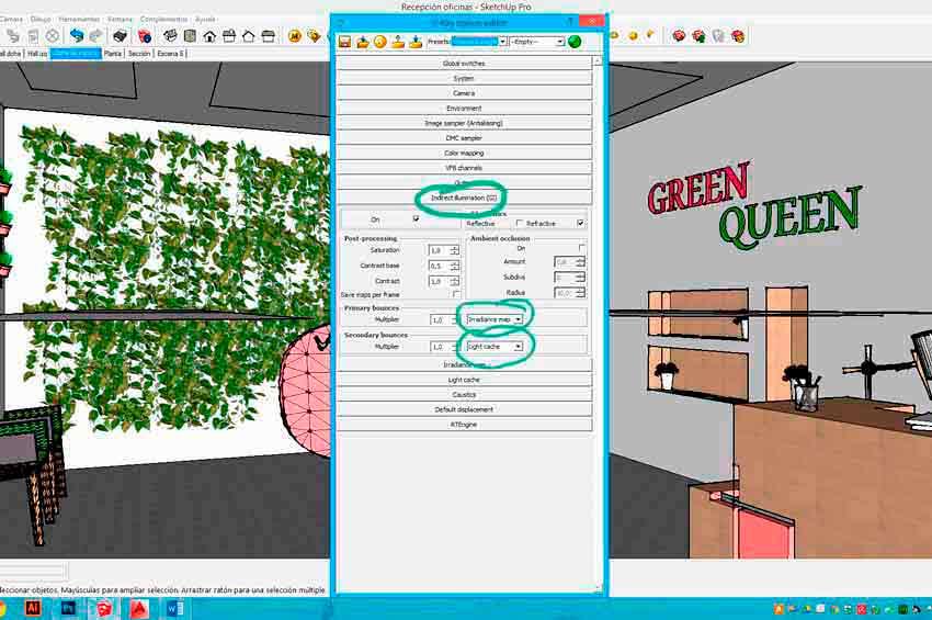 Selección de las máquinas de renderizado en Vray para Sketchup.