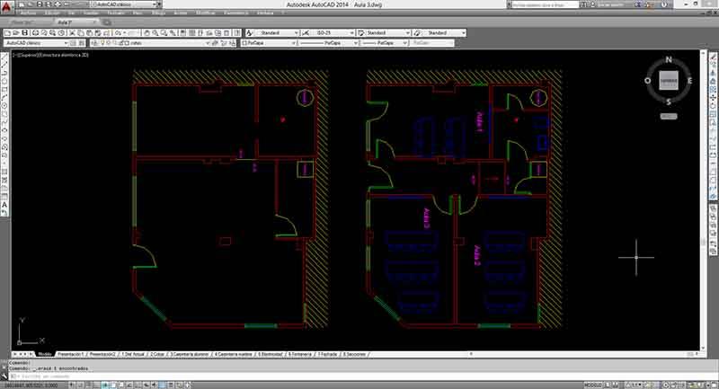 Interfaz de Autocad con el diseño de un plano.