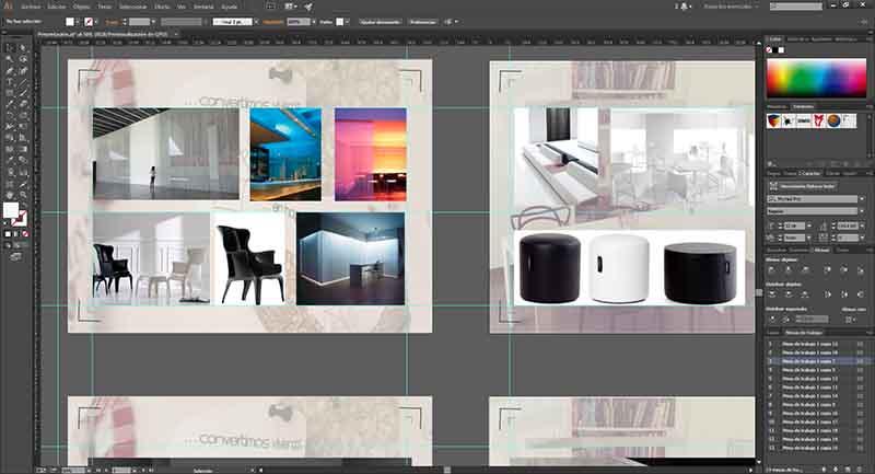 Interfaz de Illustrator con varias mesas de trabajo con mobiliario.