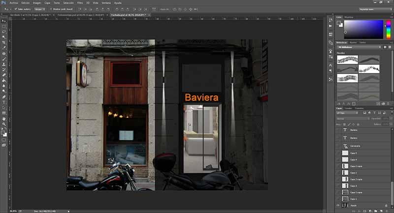 Interfaz de Photoshop con las fachadas de varios comercios.