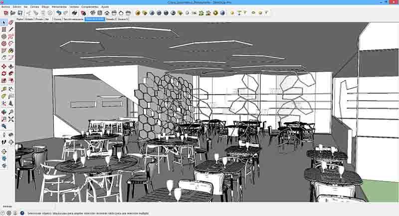 Interfaz de Sketchup con el desarrollo de una infografía.