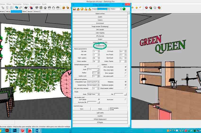 Configuración de Irradiance Map en Vray para Sketchup para conseguir luces y texturas perfectos para una infografía.