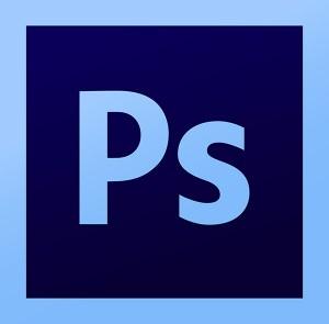 Logo del programa de ordenador Photoshop.