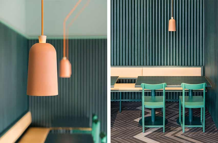 Detalles de las luminarias de un restaurante cafetería.