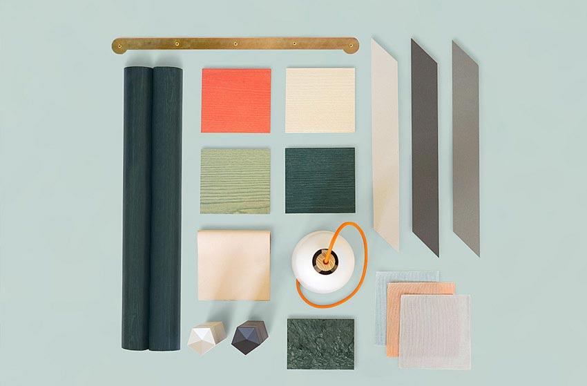 Materiales y colores utilizados en un restaurante cafetería.