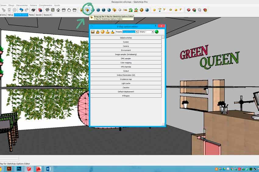 Configuración de los materiales y la iluminación en Vray para Sketchup para conseguir una imagen con calidad de fotografía.