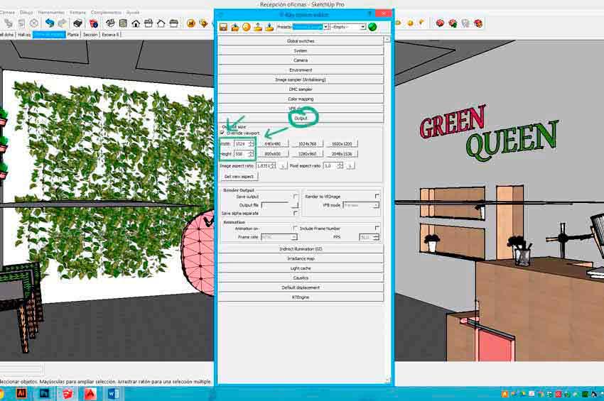 Configuración del tamaño de la imagen para el posterior renderizado de un trabajo realizado con Vray para Sketchup.