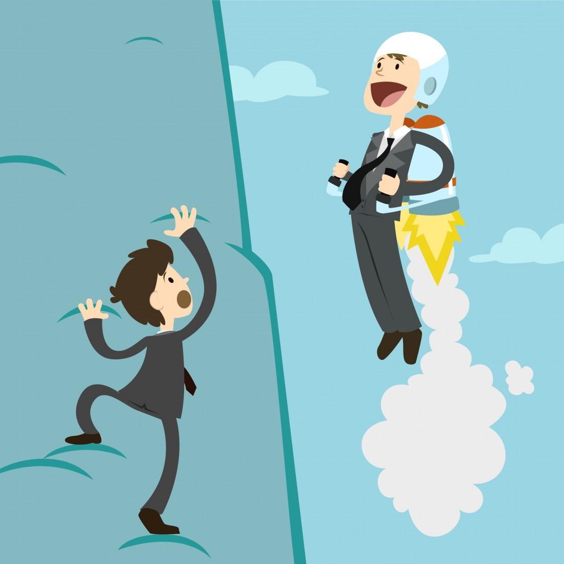 Imagen de una persona escalando y otra adelantándola con un cohete en su espalda.