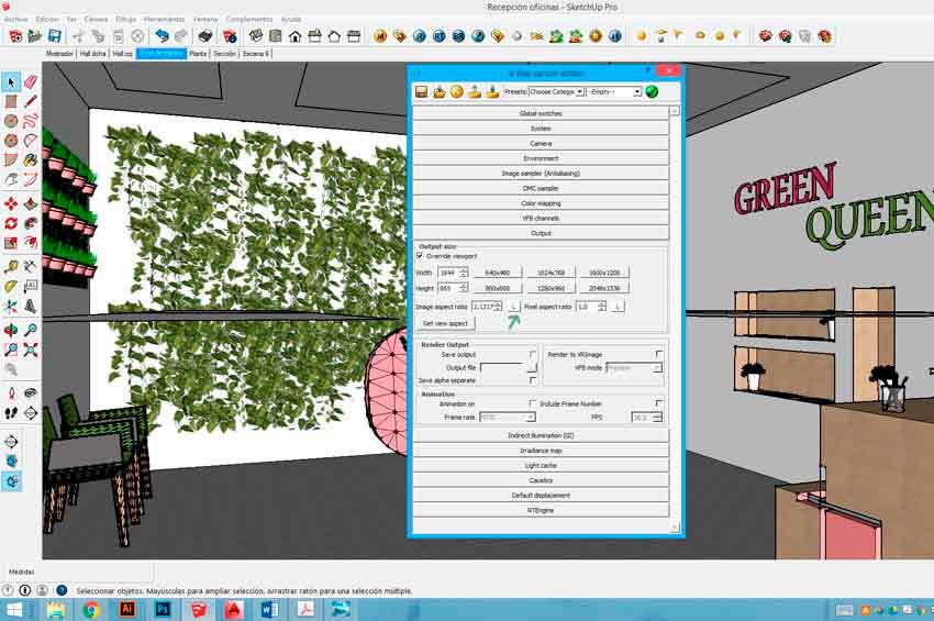 Configuración en Vray para Sketchup del image aspect ratio para acelerar el proceso de creación de infografías.