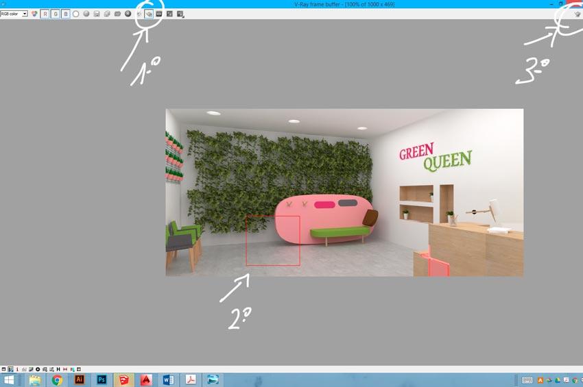 Utilización de Region Render en Vray para Sketchup para obtener las texturas óptimas en la parte de la infografía que deseas.
