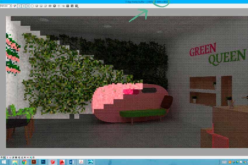 Proceso de renderizado en Vrya para Sketchup del Hall de unas oficinas.