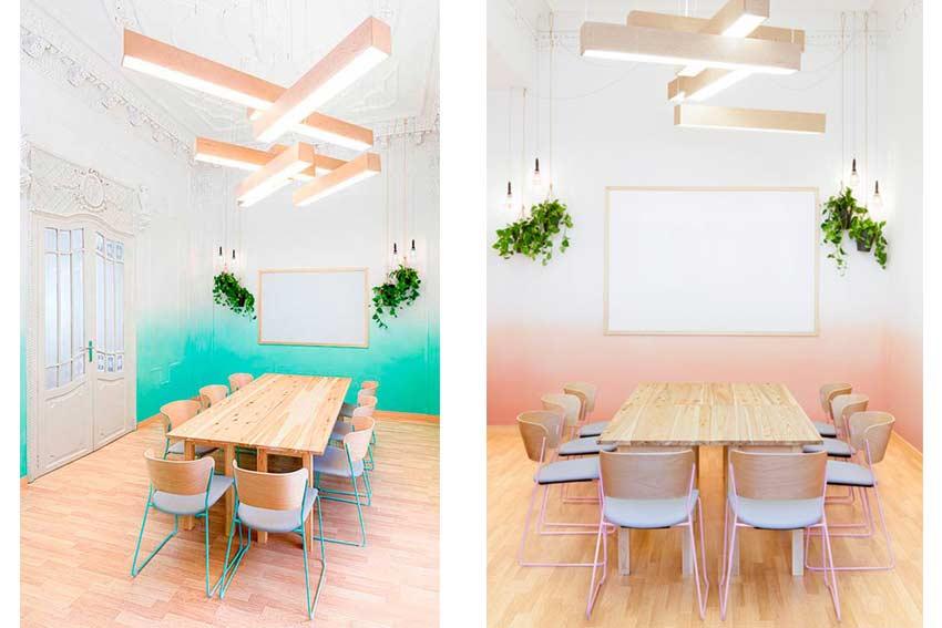 Utilización de colores pastel en una oficina.