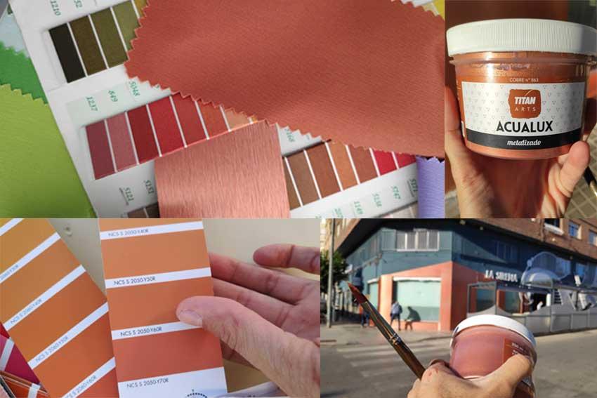 Muestras de tejidos, hilo y color utilizados para simular el cobre en la nueva fachada del Restaurante La Sirena.