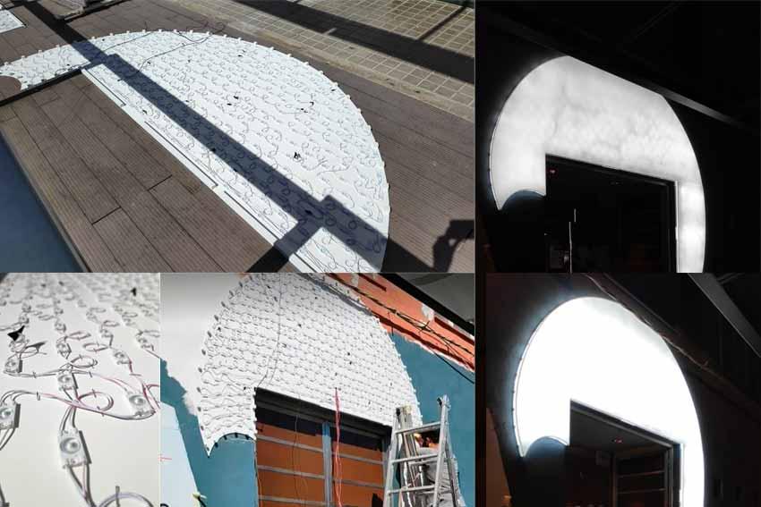 Caja de luz de la nueva fachada del Restaurante La Sirena.
