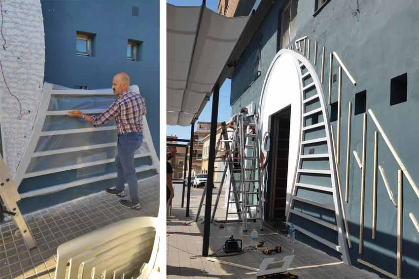 Construcción de la ola de la nueva fachada del Restaurante La Sirena.