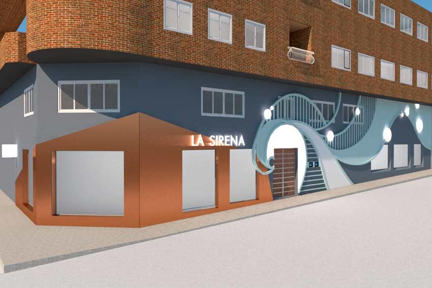 Imagen fotorealista (render) de la nueva fachada del Restaurante La Sirena.