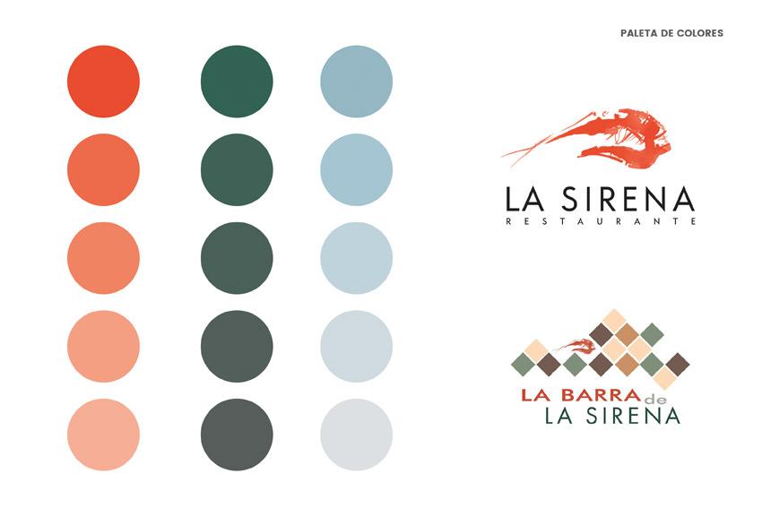 Paleta de colores y logos de la nueva fachada del Restaurante La Sirena, ubicado en Petrer(Alicante).